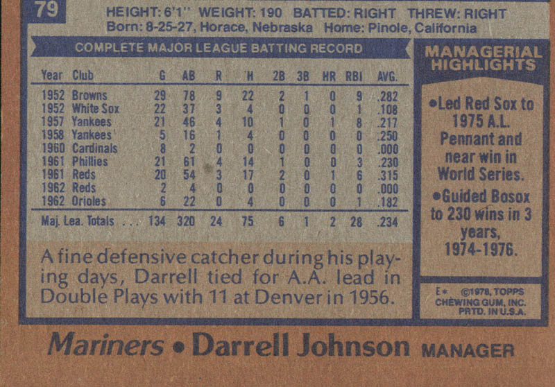 Image 3 for Darrell Johnson - Trading/Sports Card Signed - HFSID 21121
