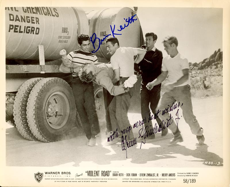 Image 1 for Violent Road Movie Cast - Autographed Signed Photograph co-signed by: Efrem Zimbalist Jr., Brian Keith - HFSID 211790