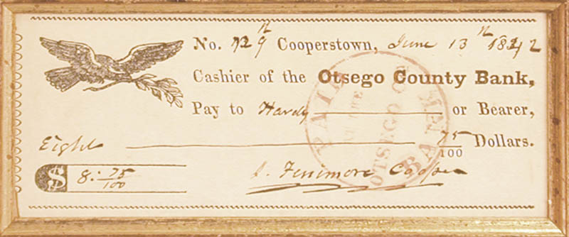 Image 3 for James Fenimore Cooper - Autographed Signed Check 06/13/1842 - HFSID 2121