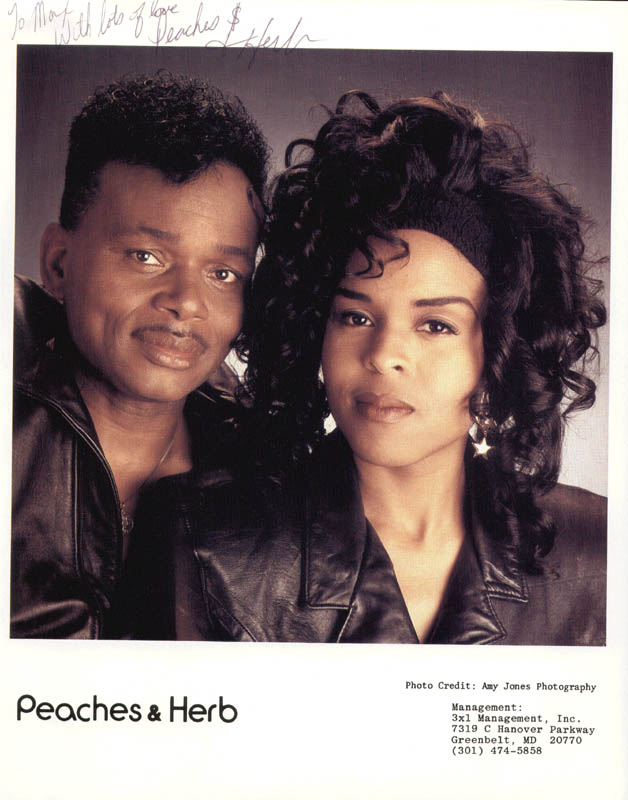 Image 1 for Peaches & Herb - Autographed Inscribed Photograph co-signed by: Peaches & Herb (Herb Fame), Peaches & Herb (Linda Greene) - HFSID 212400