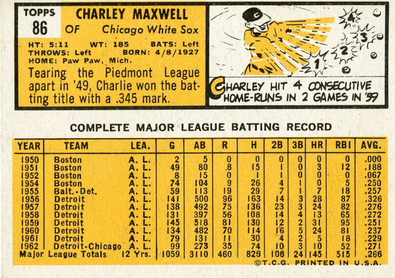 Image 3 for Charlie 'Smokey' Maxwell - Trading/Sports Card Signed - HFSID 21305