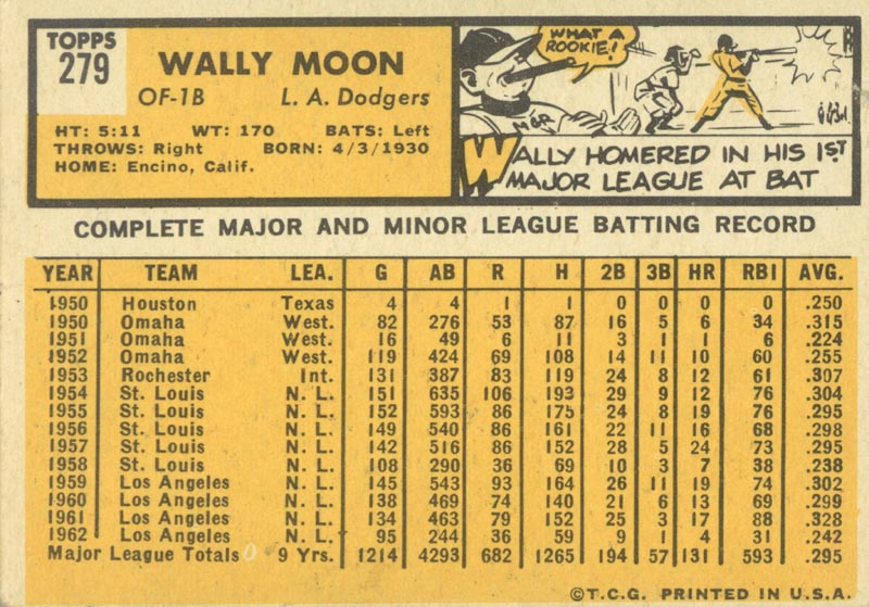 Image 3 for Wally Moon - Trading/Sports Card Signed - HFSID 21382
