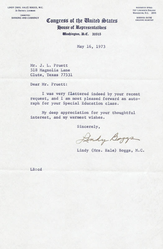 Image 1 for Lindy (Mrs. Hale) Boggs - Typed Letter Signed 05/16/1973 - HFSID 214675