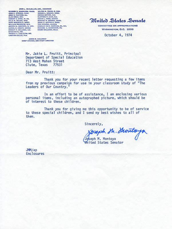 Image 1 for Joseph M. Montoya - Typed Letter Signed 10/04/1974 - HFSID 214703