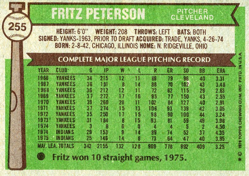 Image 3 for Fritz Peterson - Trading/Sports Card Signed - HFSID 21485