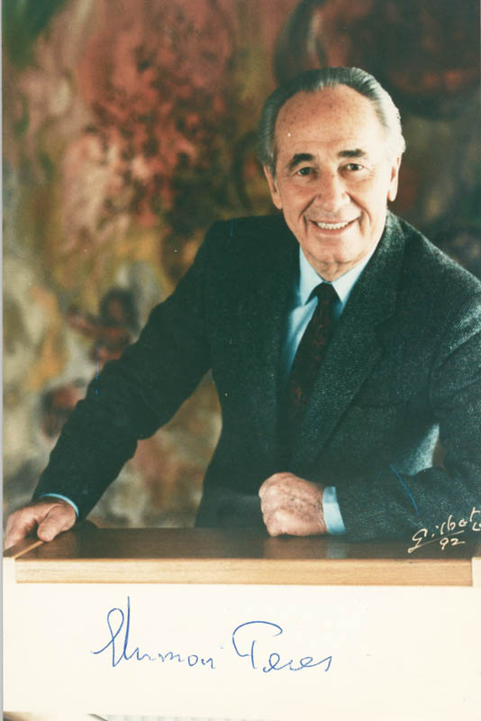 Image 1 for Prime Minister Shimon Peres - Autographed Signed Photograph - HFSID 215622