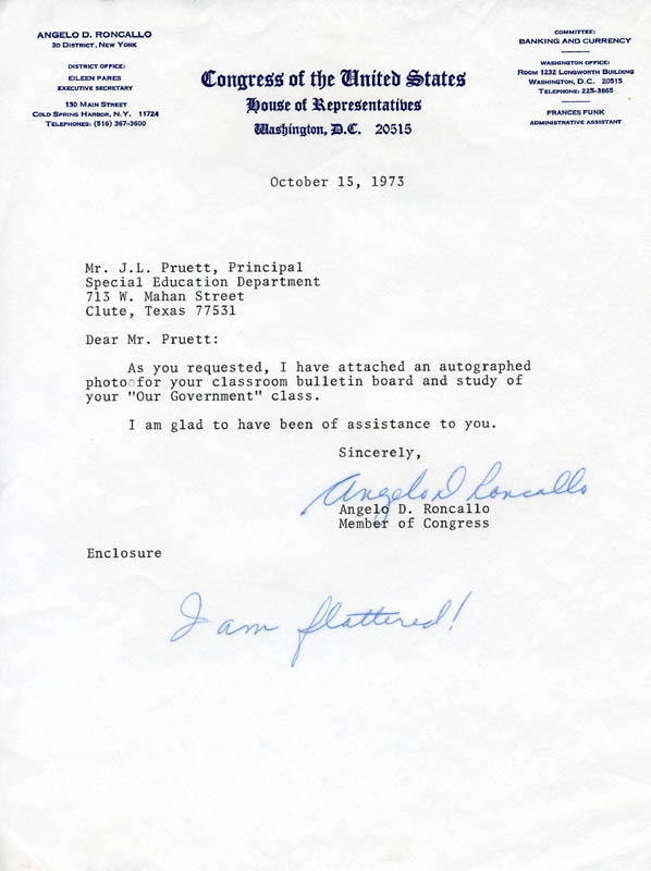 Image 1 for Angelo D. Roncallo - Typed Letter Signed 10/15/1973 - HFSID 215951