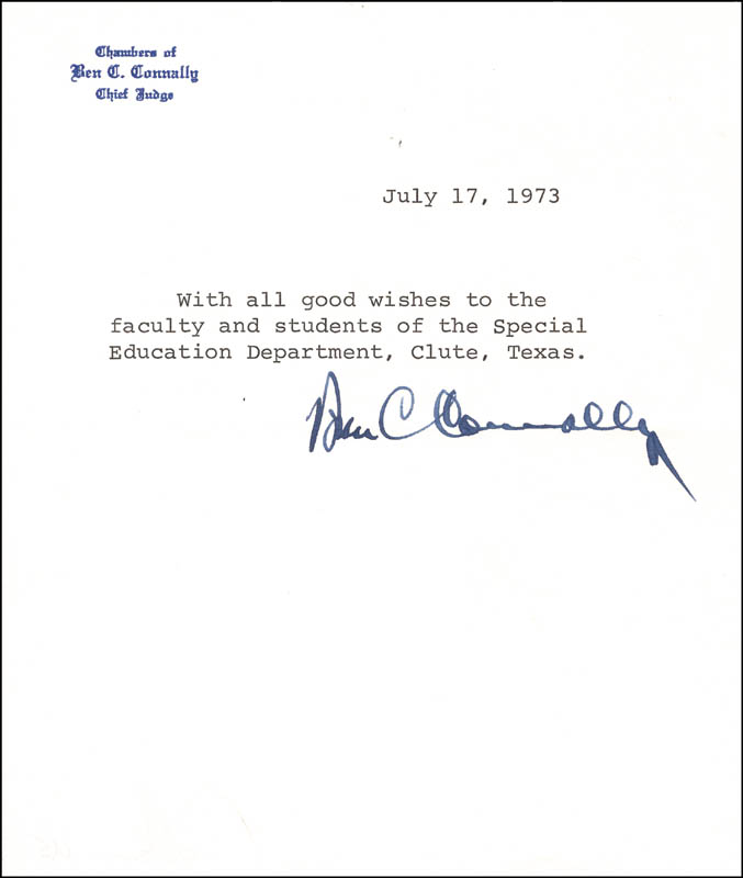 Image 1 for Ben C. Connally - Typed Note Signed 07/17/1973 - HFSID 215976