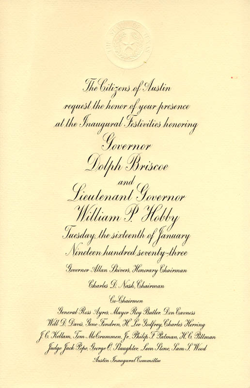 Image 1 for Governor Dolph Briscoe - Inaugural Invitation Unsigned 1973 With William P. 'Bill' Hobby, Jr. - HFSID 215991