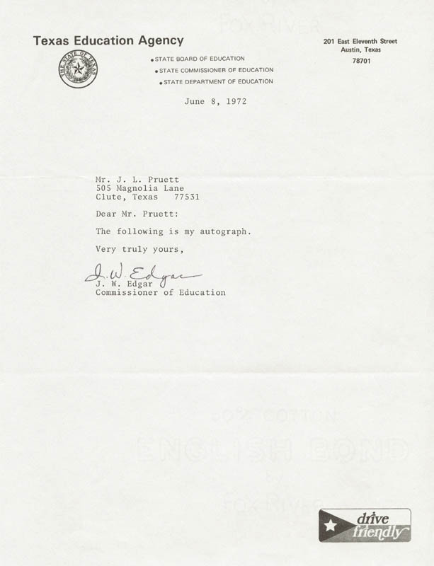 Image 1 for James W. Edgar - Typed Note Signed 06/08/1972 - HFSID 216000