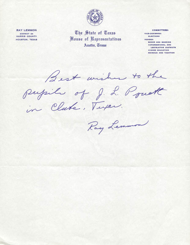 Image 1 for Ray Lemmon - Autograph Note Signed - HFSID 216034