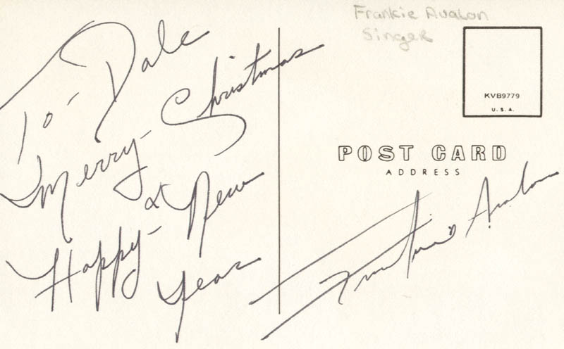 Image 1 for Frankie Avalon - Inscribed Picture Postcard Signed - HFSID 216485