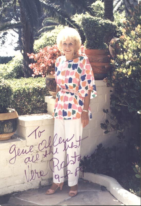 Image 1 for Vera H. Ralston - Autographed Inscribed Photograph 09/08/1989 - HFSID 216632