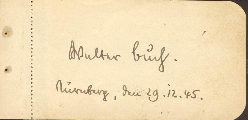 Image 1 for Walter Buch - Autograph 12/29/1945 - HFSID 217261