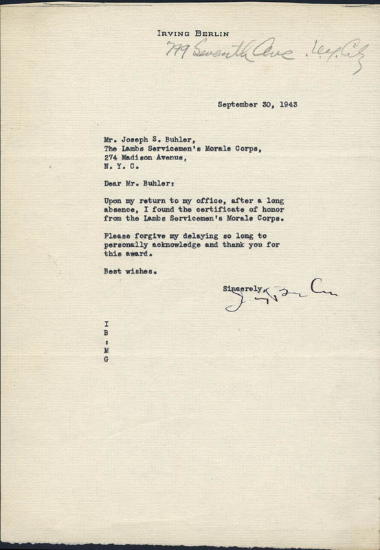 Image 1 for Irving Berlin - Typed Letter Signed 04/06/1970 - HFSID 217294