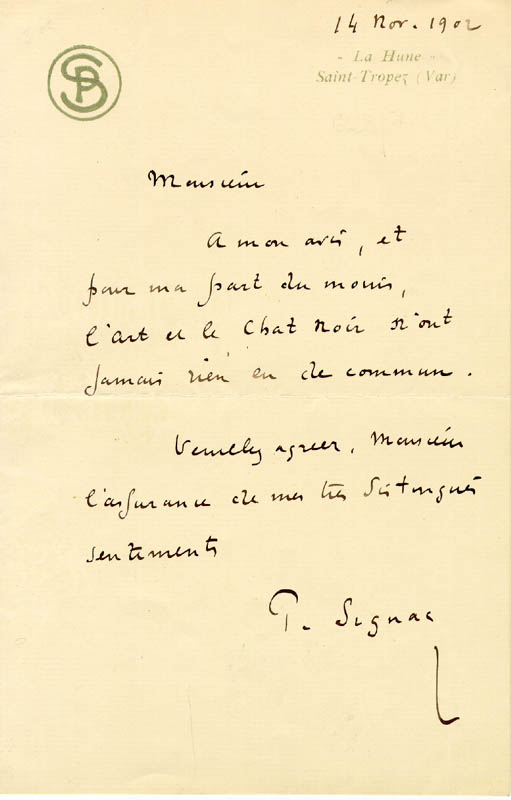 Image 1 for Paul Signac - Autograph Letter Signed 11/14/1902 - HFSID 217468