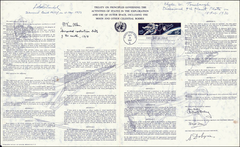 Image 1 for Lubos Kohoutek - Commemorative Sheet With First Day Cancellation Circa 1967 co-signed by: James A. Van Allen, Clyde William Tombaugh - HFSID 217519