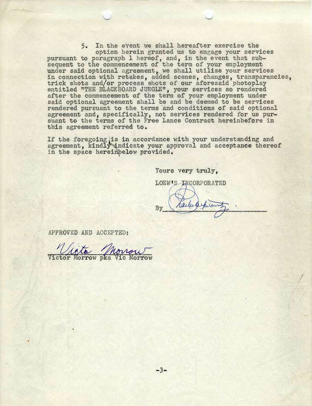 Vic Morrow - Contract Signed 11/01/1954   HistoryForSale