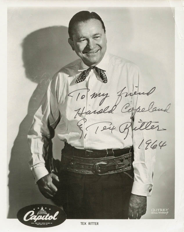 Image 1 for Tex Ritter - Autographed Inscribed Photograph 1964 - HFSID 217549