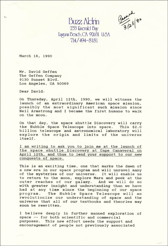 Image 3 for Colonel Buzz Aldrin - Typed Letter Signed 03/18/1990 - HFSID 217580