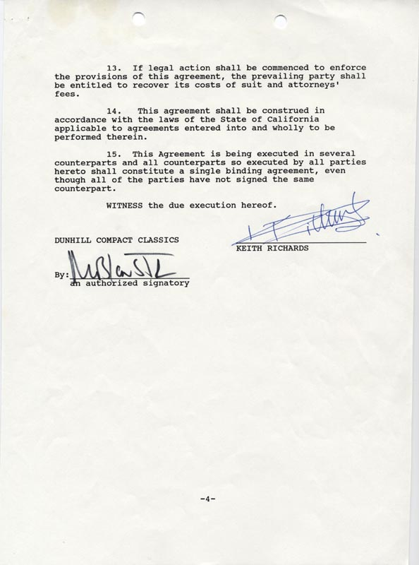 The Rolling Stones Keith Richards Document Signed 02151989