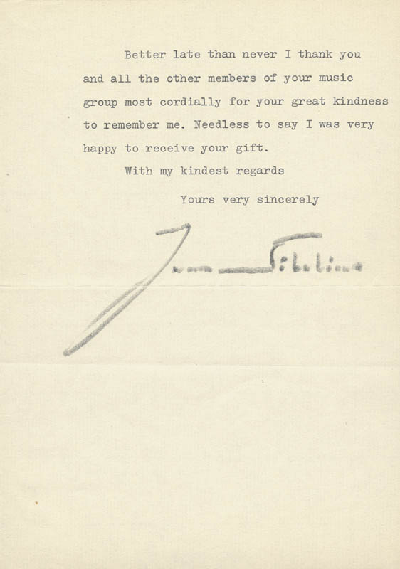 Image 1 for Jean Sibelius - Typed Letter Signed 10/08/1953 - HFSID 217732