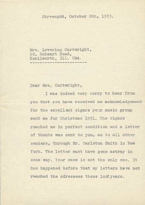 Image 3 for Jean Sibelius - Typed Letter Signed 10/08/1953 - HFSID 217732