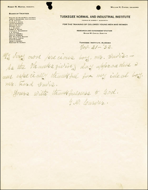 Image 1 for George Washington Carver - Autograph Letter Signed 11/21/1932 - HFSID 217907