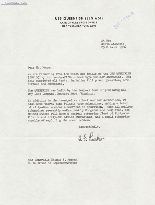 Image 1 for Admiral Hyman G. Rickover - Typed Letter Signed - HFSID 217952