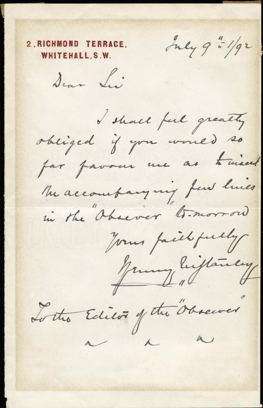 Image 1 for Henry M. Stanley - Autograph Letter Signed - HFSID 217969