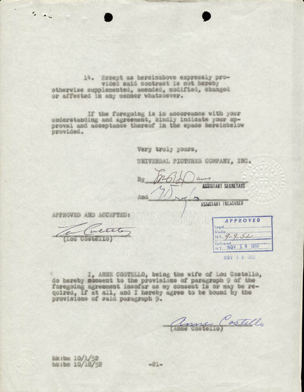 Image 1 for Abbott & Costello (Lou Costello) - Contract Signed co-signed by: Anne (Mrs. Lou) Costello - HFSID 218010