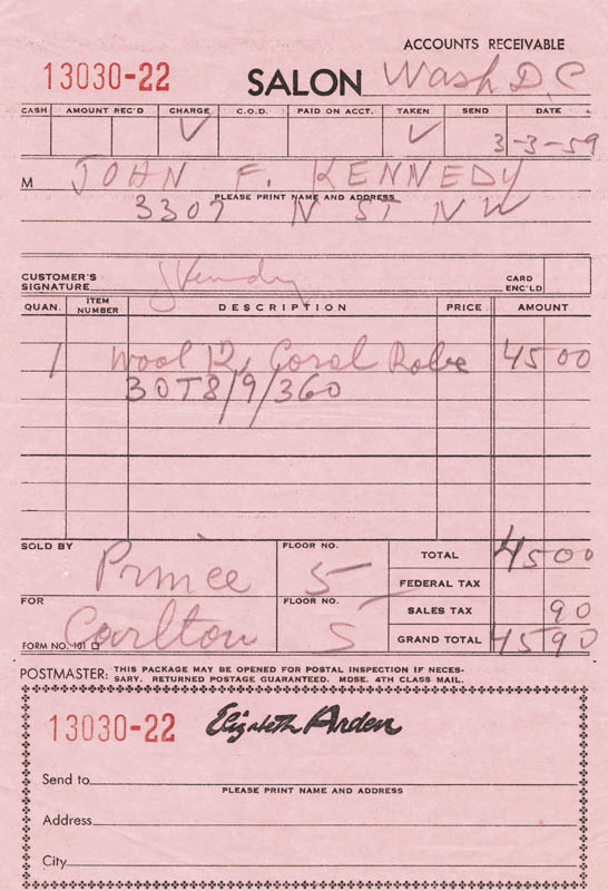 Image 1 for First Lady Jacqueline B. Kennedy - Receipt Signed 03/03/1959 - HFSID 218289