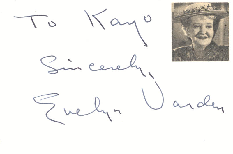 Image 1 for Evelyn Varden - Autograph Note Signed - HFSID 21961