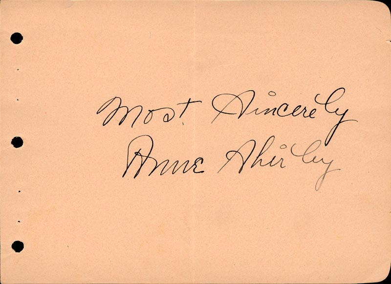 Image 1 for Anne Shirley - Autograph Sentiment Signed Circa 1938 - HFSID 22001