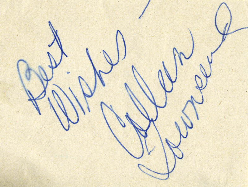 Image 1 for Colleen Townsend - Autograph Sentiment Signed - HFSID 22038