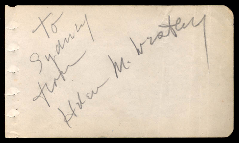 Image 1 for Helen M. Westley - Inscribed Signature - HFSID 22095
