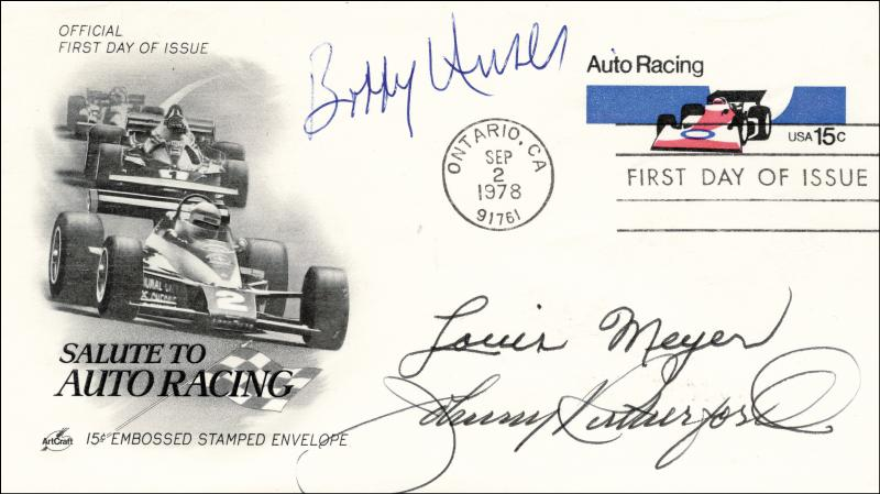 Image 1 for Lou Meyer - First Day Cover Signed co-signed by: Bobby Unser, Johnny Rutherford - HFSID 221157