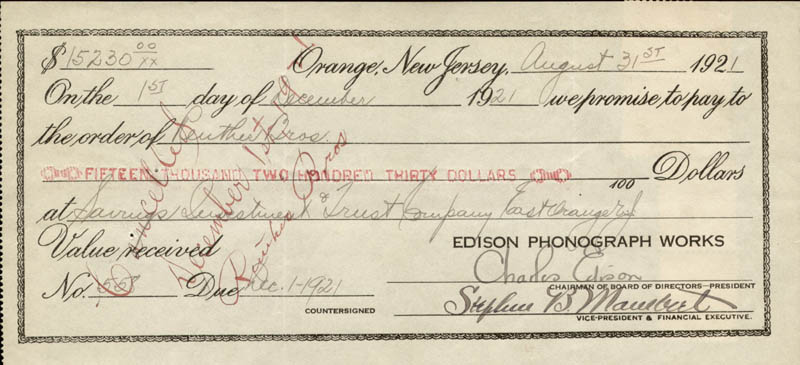 Image 1 for Governor Charles Edison - Promissory Note Signed 08/31/1921 - HFSID 221419