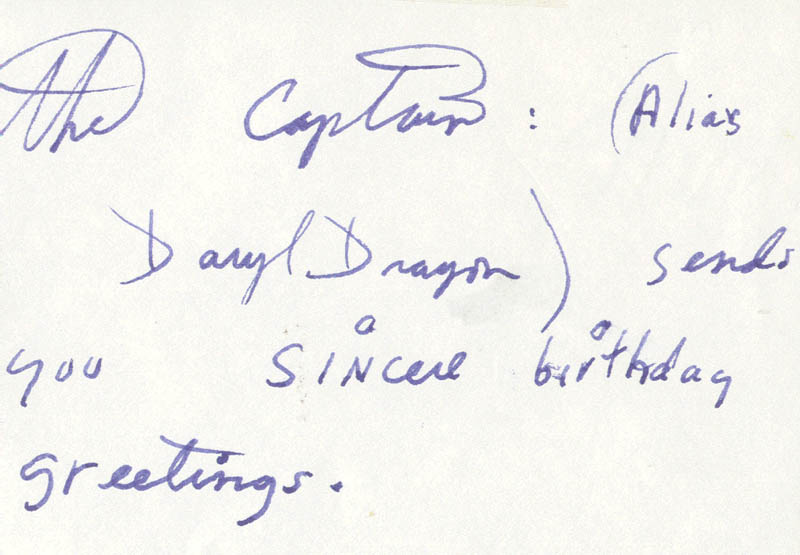 Image 1 for Captain & Tennille (Daryl Dragon) - Autograph Note Signed - HFSID 221592
