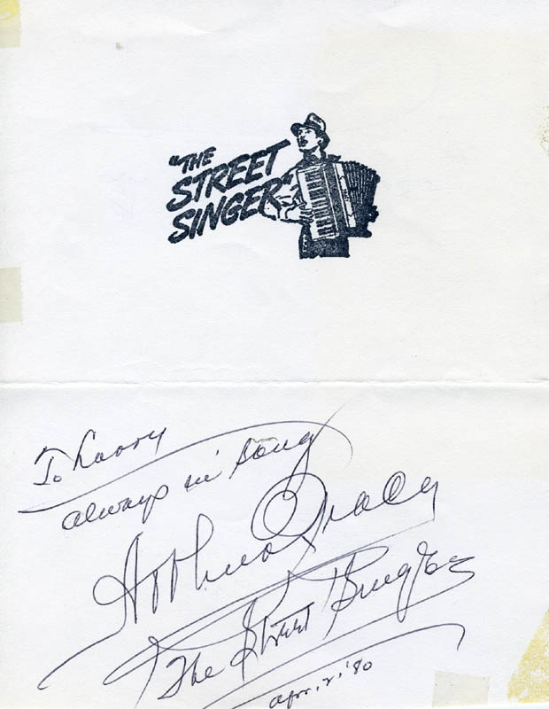 Image 1 for Arthur Tracy - Autograph Note Signed 04/02/1980 - HFSID 221599