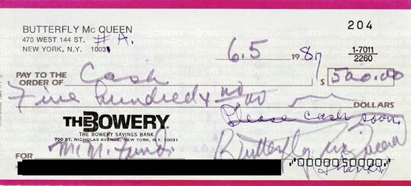 Image 1 for Butterfly Mcqueen - Check Signed & Endorsed 06/05/1987 - HFSID 221919