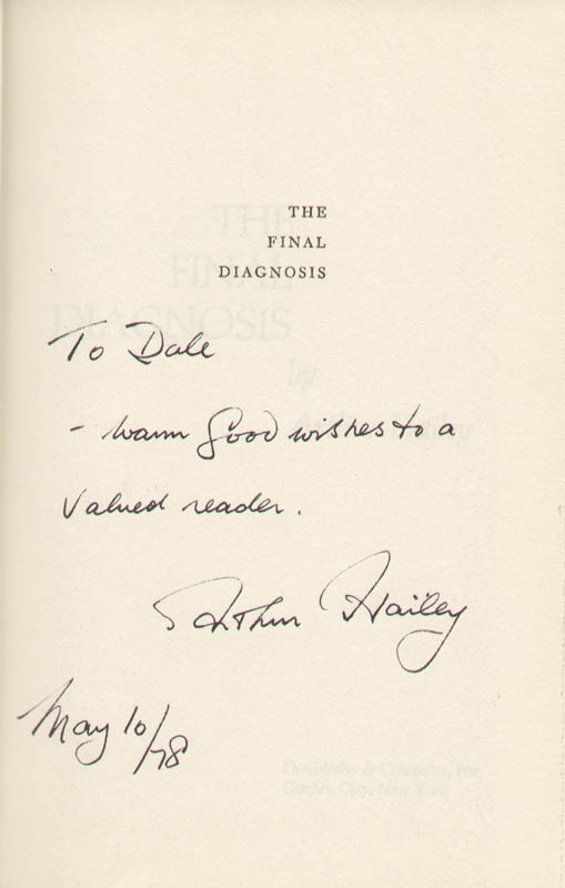 Image 1 for Arthur Hailey - Inscribed Book Signed 05/10/1978 - HFSID 221966