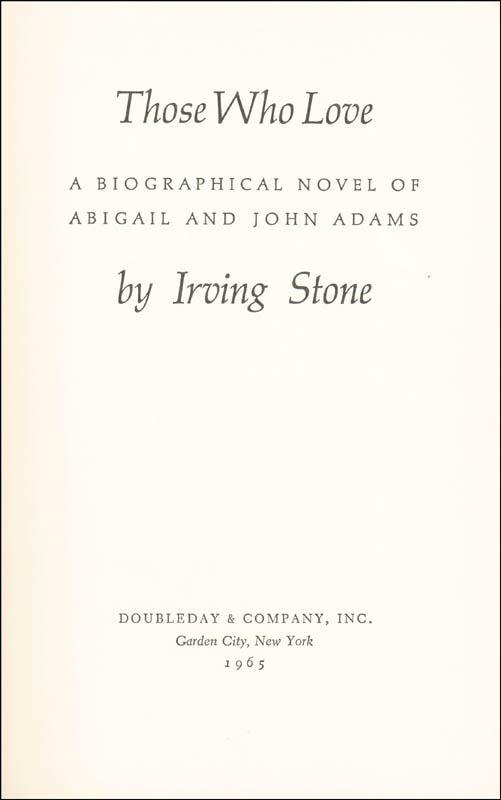 Image 3 for Irving Stone - Inscribed Book Signed 10/1965 - HFSID 221974