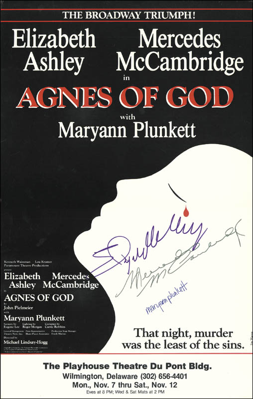 Image 1 for Agnes Of God - Play Cast - Autographed Signed Poster co-signed by: Mercedes Mccambridge, Elizabeth Ashley, Maryann Plunkett - HFSID 221994