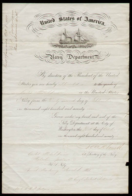 Image 1 for Rear Admiral John C. Howell - Military Appointment Signed 10/08/1877 co-signed by: Rear Admiral Christopher Rodgers - HFSID 22212