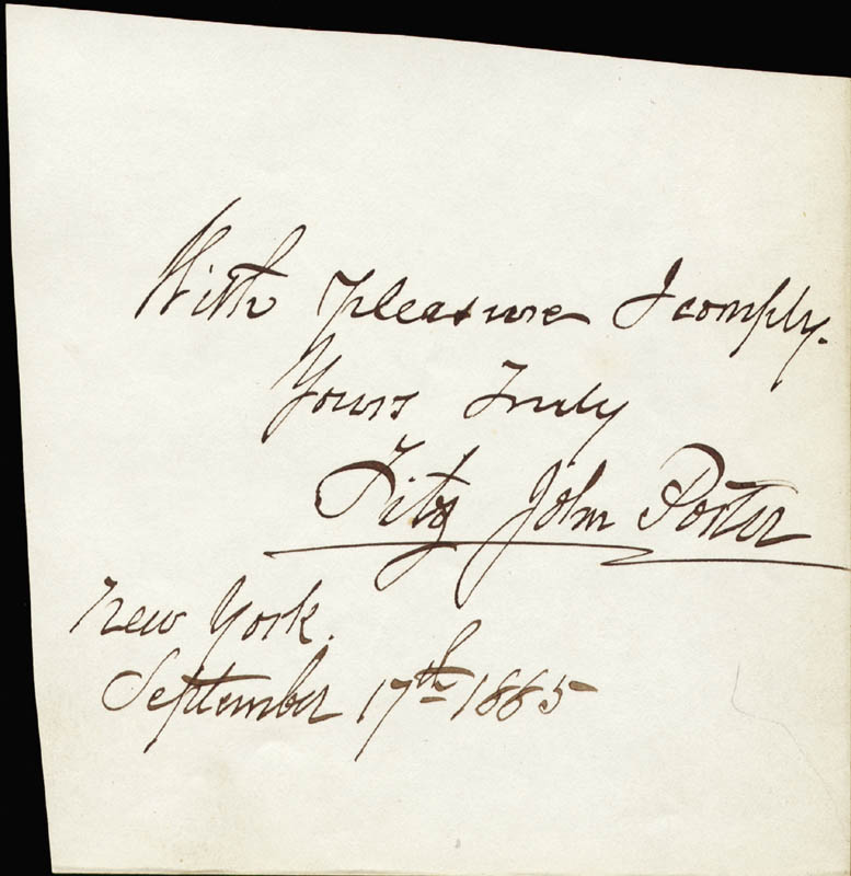 Image 1 for Major General Fitz John Porter - Autograph Note Signed 09/17/1885 - HFSID 22215