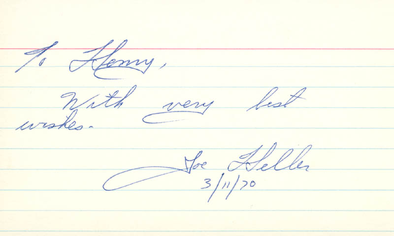 Image 1 for Joseph Heller - Inscribed Signature 03/11/1970 - HFSID 222215