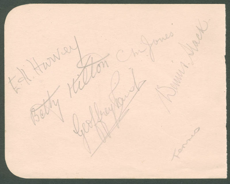 Image 1 for Betty Hilton - Autograph co-signed by: Dennis Slack, Chris Jones, Ermyntrude Hilda Harvey, Eric William Sturgess, Jack Harper - HFSID 222344