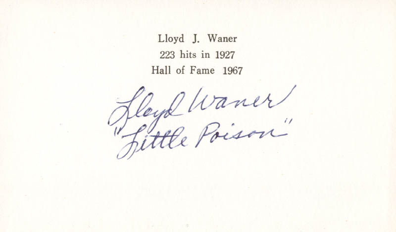 Image 1 for Lloyd 'Little Poison' Waner - Printed Card Signed In Ink - HFSID 222359