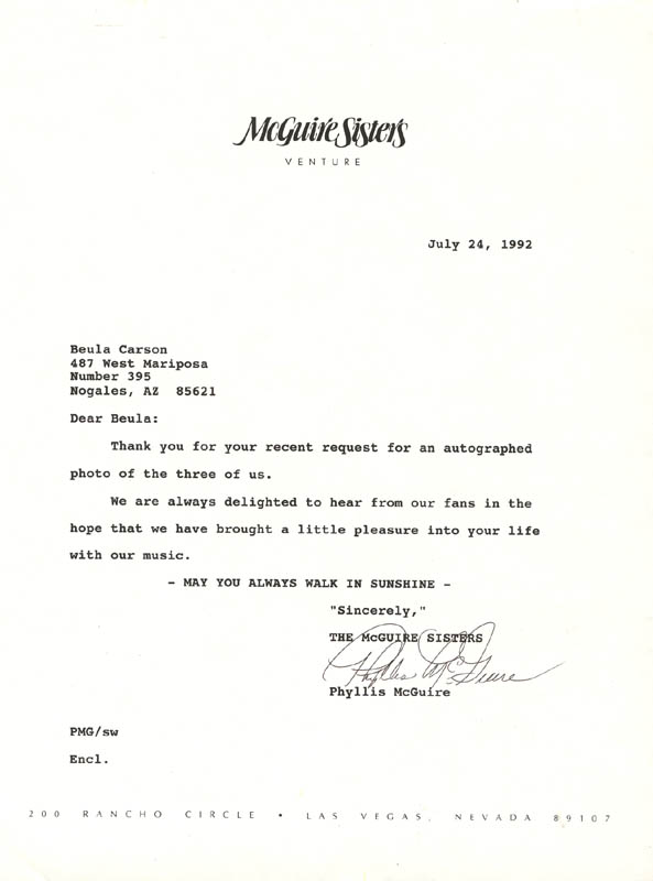 Image 1 for The Mcguire Sisters (Phyllis Mcguire) - Typed Letter Signed 07/24/1992 - HFSID 222437